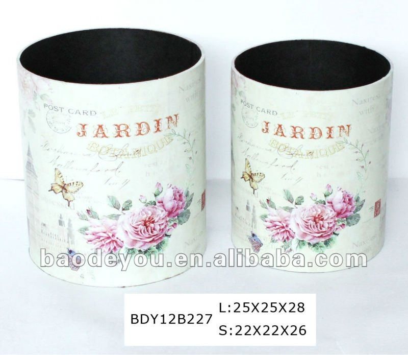decorative wooden MDF waste bin