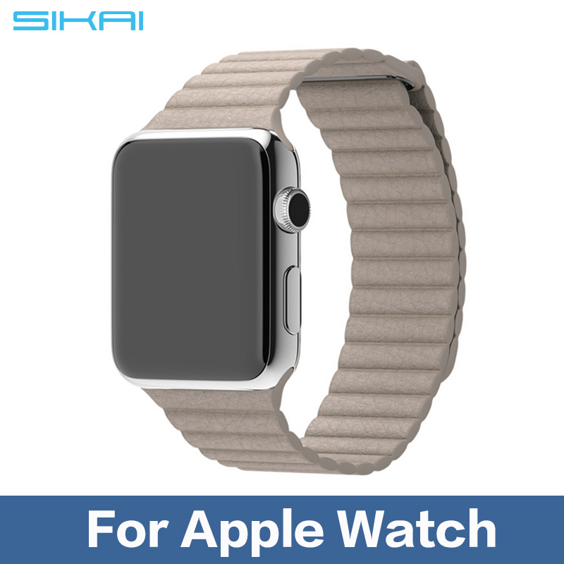 100% Genuine Leather Loop for Apple Watch Bands Type Watchband Strap Magnetic Buckle for iWatch 38mm/42mm