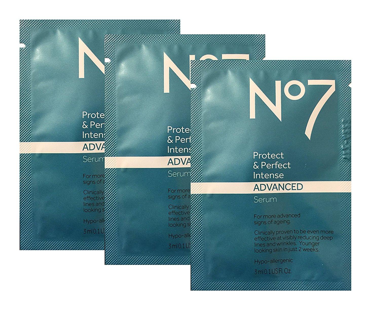 Boots No7 Protect & Perfect Intense Advanced Beauty Anti Aging Serum, 0.1 fl oz (3 ml), travel size, pack of 3 (0.3 fl oz/9 ml)