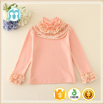 2260619b9fb1 Beautiful Baby Tops Pink Lace Neck Design Blouse Kid Girl Clothing ...
