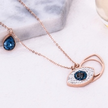Blue zircon Devil Eye 925 Sterling Silver Pendant Necklace For Women Jewelry