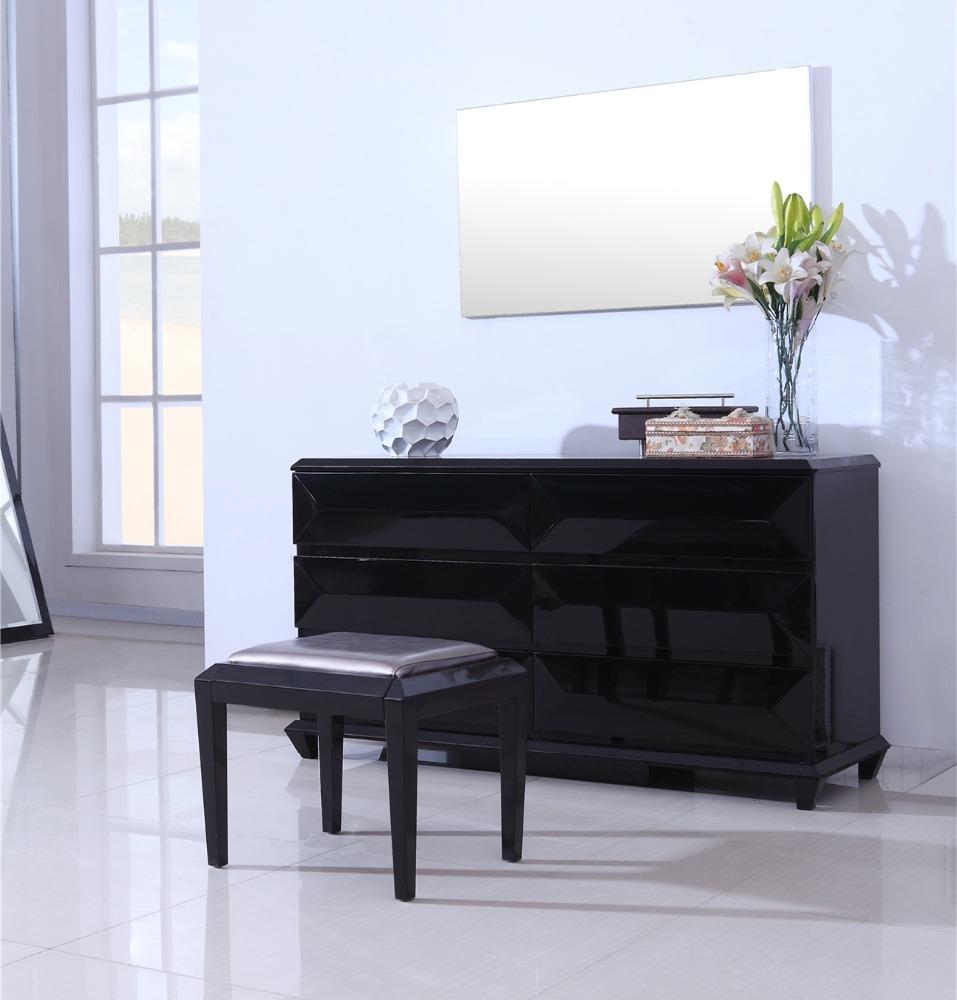 Populaire moderne hout dressing kasten ontwerp zwart hoogglans ...