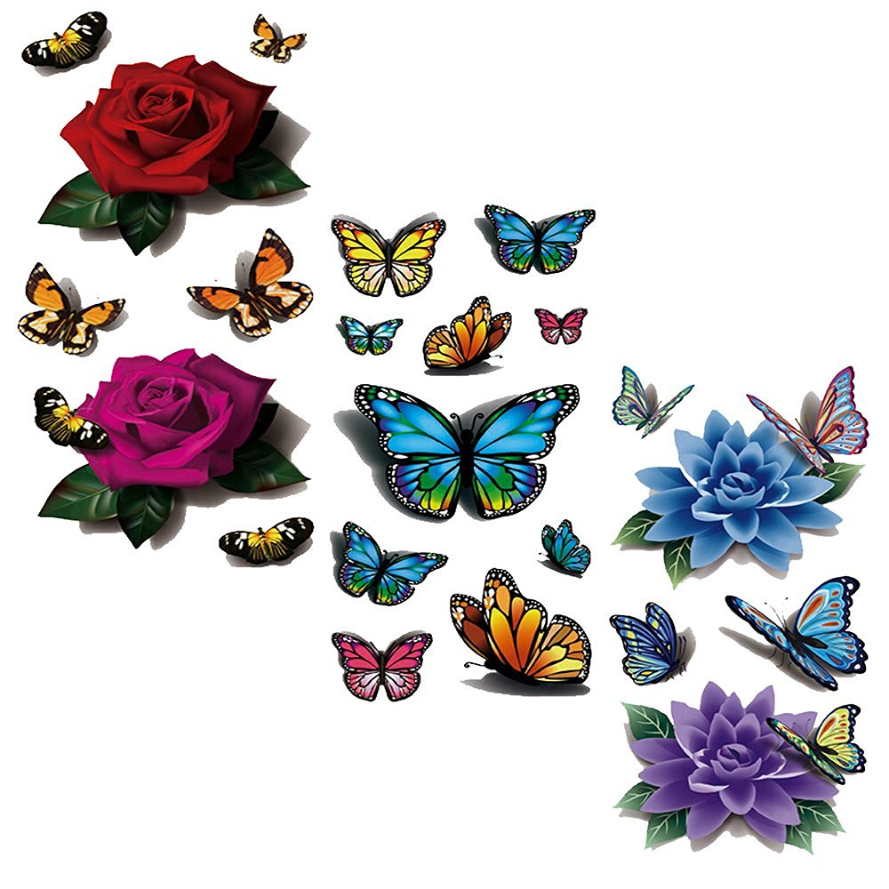 EVTECH(TM) 3 Style Mix Floral Flowers Animal Butterfly Red Purple Rose Blue Purple Lotus Chinese Rose Colorful 3D Temporary Tattoos Waterproof NightClub Transfer Tattoos