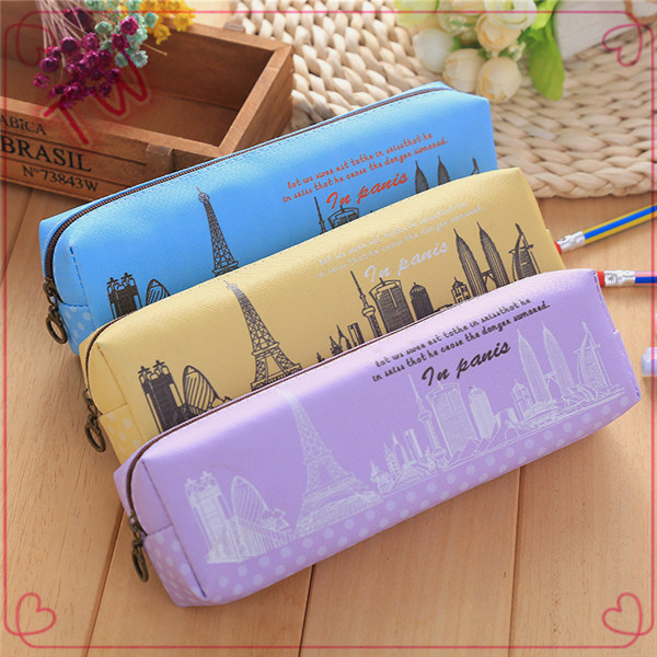 Japan and South Korea super kawaii advertisement stationery cartoon cute kids leather pencil case with zipper