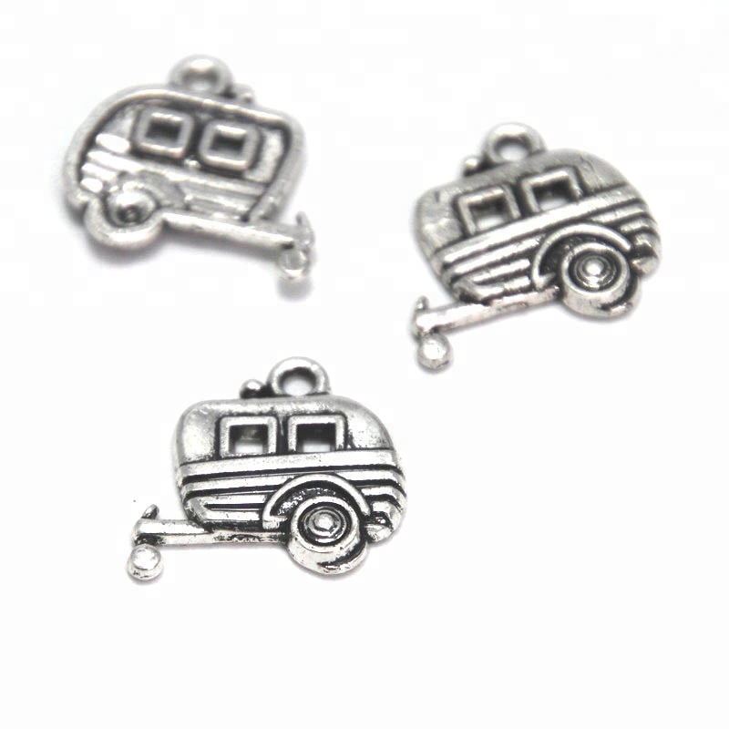 The Camper Trailer Charms Antique Tibetan silver tone Travel Trailer Happy Camper Charms pendants 19x18mm