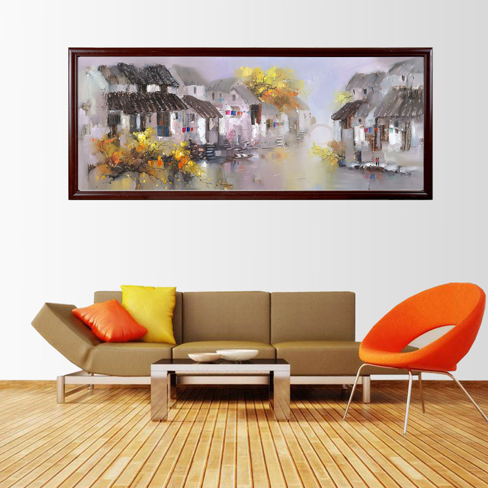 Chinese Watercolor Impressionist Scenic Framed Art Paintings