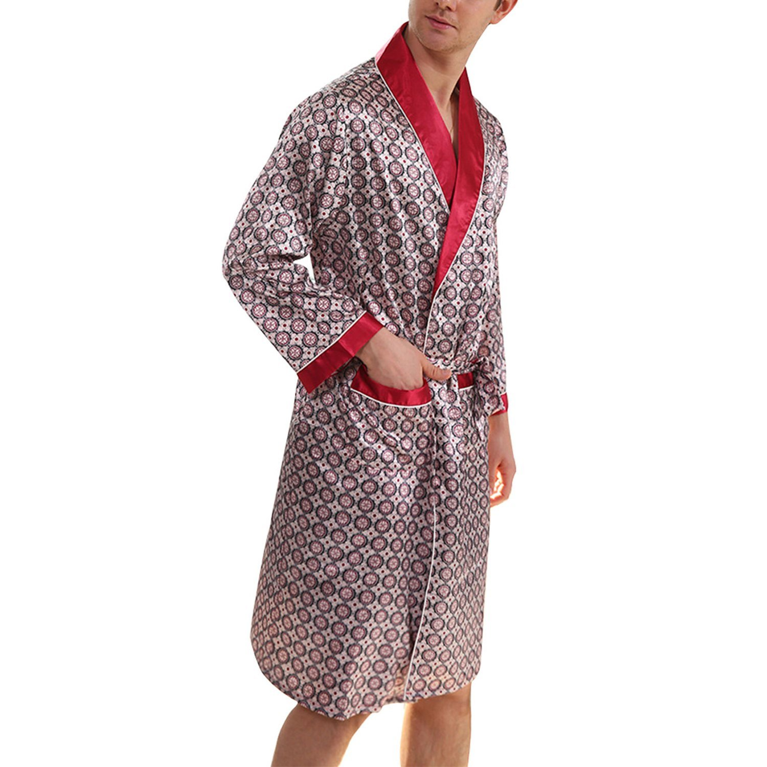 6a14842367 Get Quotations · Yesky Men s Satin Kimono Robe Printed Bath Sleepwear  Classic Comfortable Satin Robe