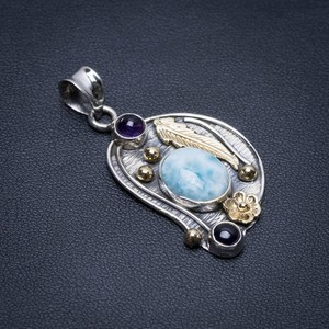 Natural Two Tones Caribbean Larimar and Amethyst Boho 925 Sterling Silver Pendant 1 3/4""
