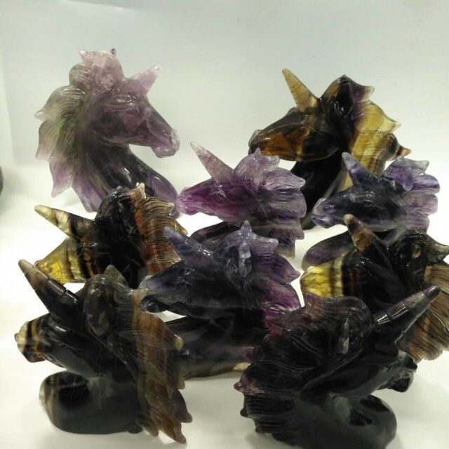 wholesale High Quality fluorite handmade carving unicorn for gift