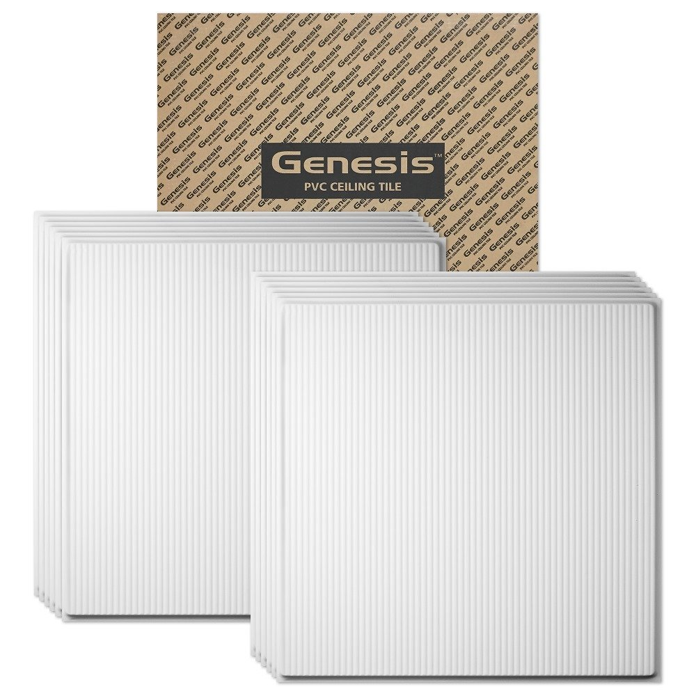Genesis - Contour Pro Revealed Edge White 2x2 Ceiling Tiles 4 mm thick (carton of 12) – These 2'x2' Drop Ceiling Tiles are Water Proof and Won't Break - Fast and Easy Installation and a Great Alternative to Acoustical Ceiling Tiles - 25 Year Warranty (2' x 2' Tile)