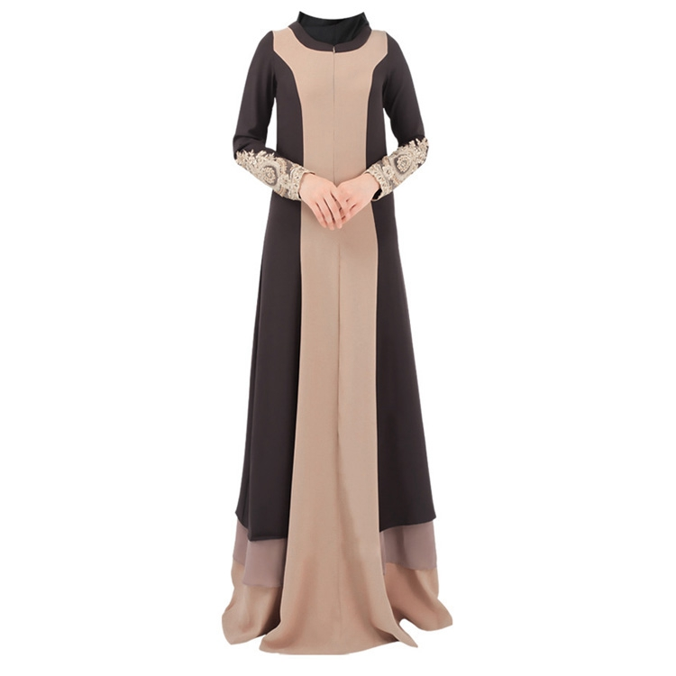 Latest Design Women No Headscarf Embroidery On Cuffs Abaya Kaftan Dress