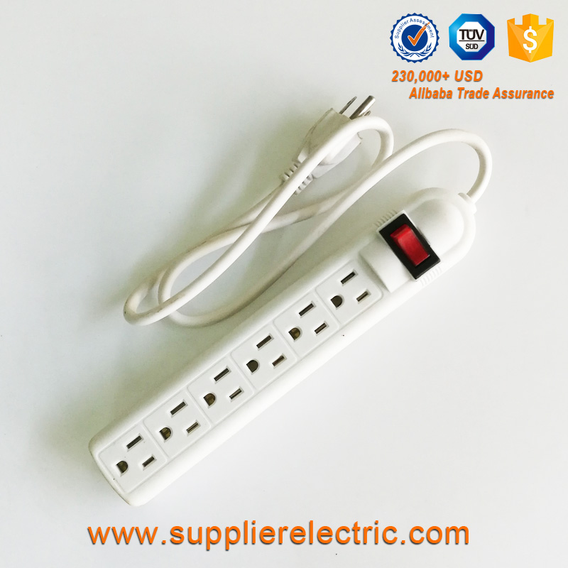 ABS Shell Copper Wire 6 Outlet Electrical Extension Socket Power Strip