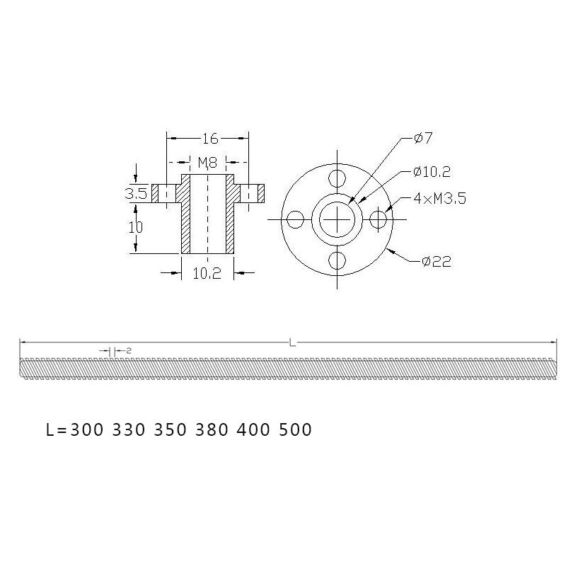 Factory price trapezoidal T8 Lead screw 350mm/500mm length lead screw for 3D Printer CNC/Stepper Motor