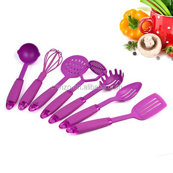 Coloured Kids Tpr Handle Nylon Kitchen Utensils Sets Of Childrennylon Cooking Tools
