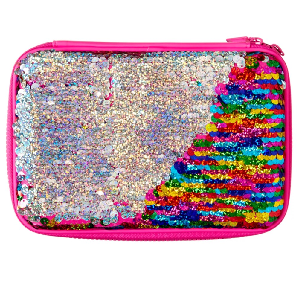 Zipper Mesh Pocket Portable Kids Eva Pencil Case Bag With Sequins