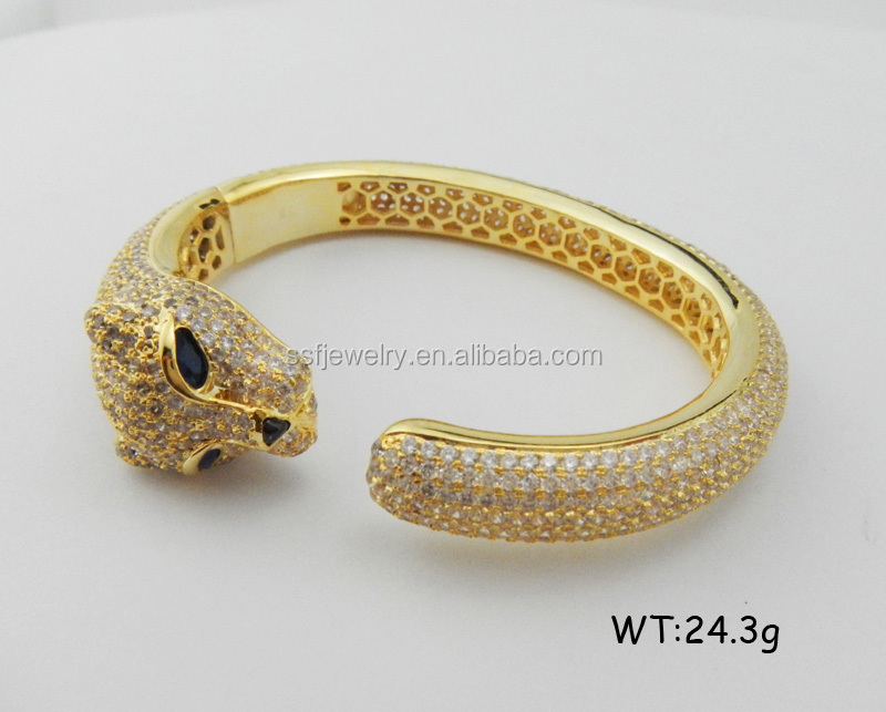 SB0020a hot selling products european style special design panther head gold plated bangle