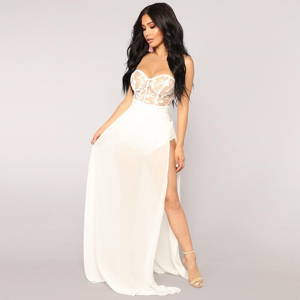 2018 Elegante Ricamo di Nuovo Modo su di tendenza bianco pizzo abiti da sposa speciale