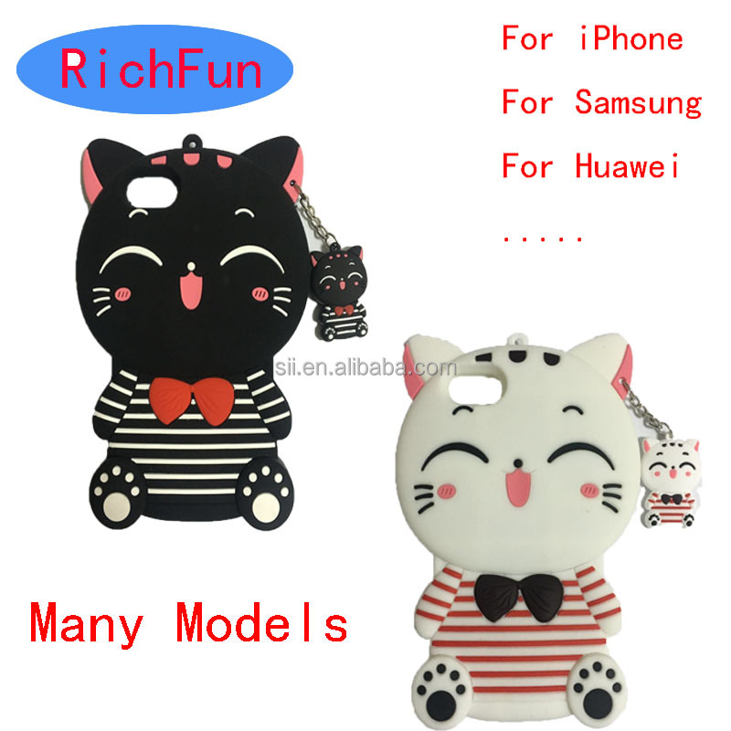 Many models Hot 3D Cute Cartoon Lucky Cat Soft Silicon Back Cover For <strong>iPhone</strong> 4 5 6 7 <strong>4G</strong> 5G 6G 7G 4s 5s 6s Plus 3D Phone Case