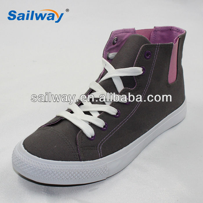 2014 good quality new style men's sport shoes purple elastic lace up sneakers