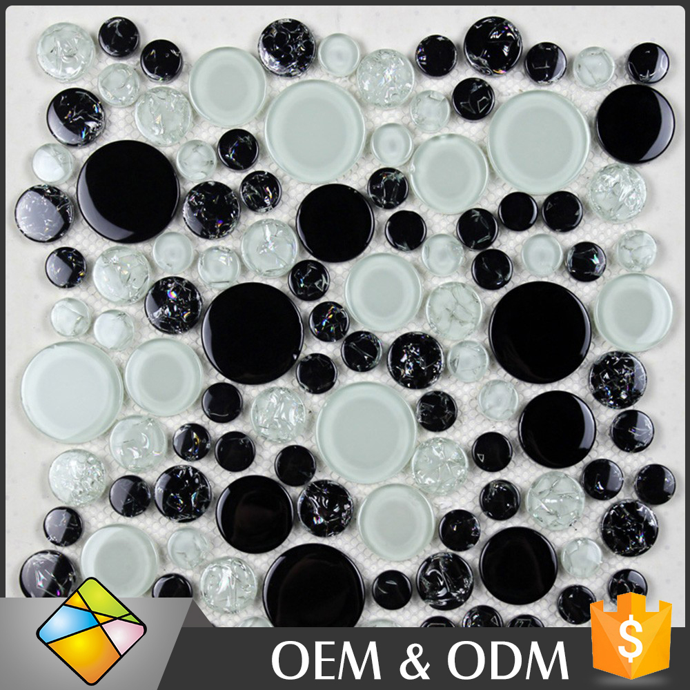 China Wholesale Price Glass Mosaic Wall Decoration White Black Color Irregularity Cool Tone Penny Round Shape Mosaic Tile