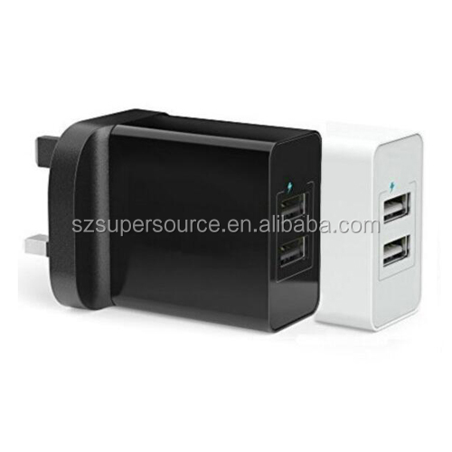 2-port usb charger with EU, UK, US plug wall charger 15W 3.1A power adapter