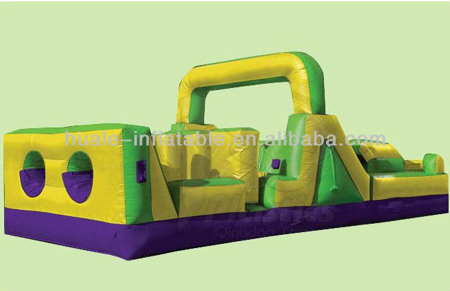 Yellow and green inflatable obstacle game