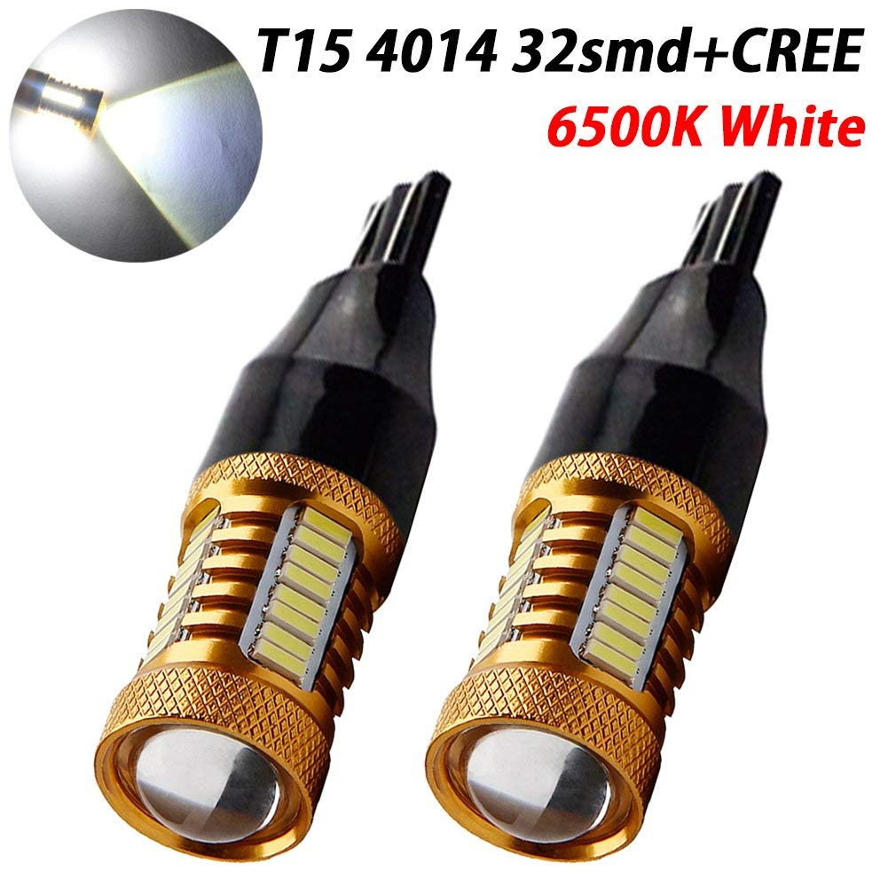 EverBright 2-Pack Extremely Bright 1000LUMS,12V-24V White Canbus 921 912 906 T15 W16W 4014 30-SMD LED Lights Bulb for Car Replacement Bulbs Backup Reverse Side Marker Light