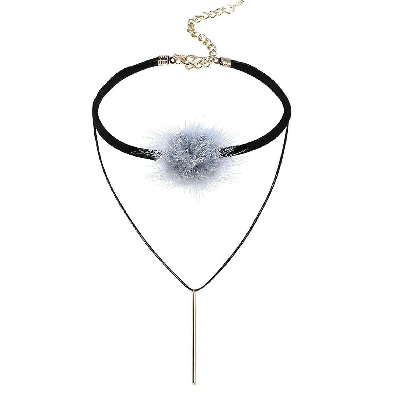 KnSam Women Stainless Steel Choker Necklaces Collar Multilayer Pom Pom Ball Long Bar Gold Grey