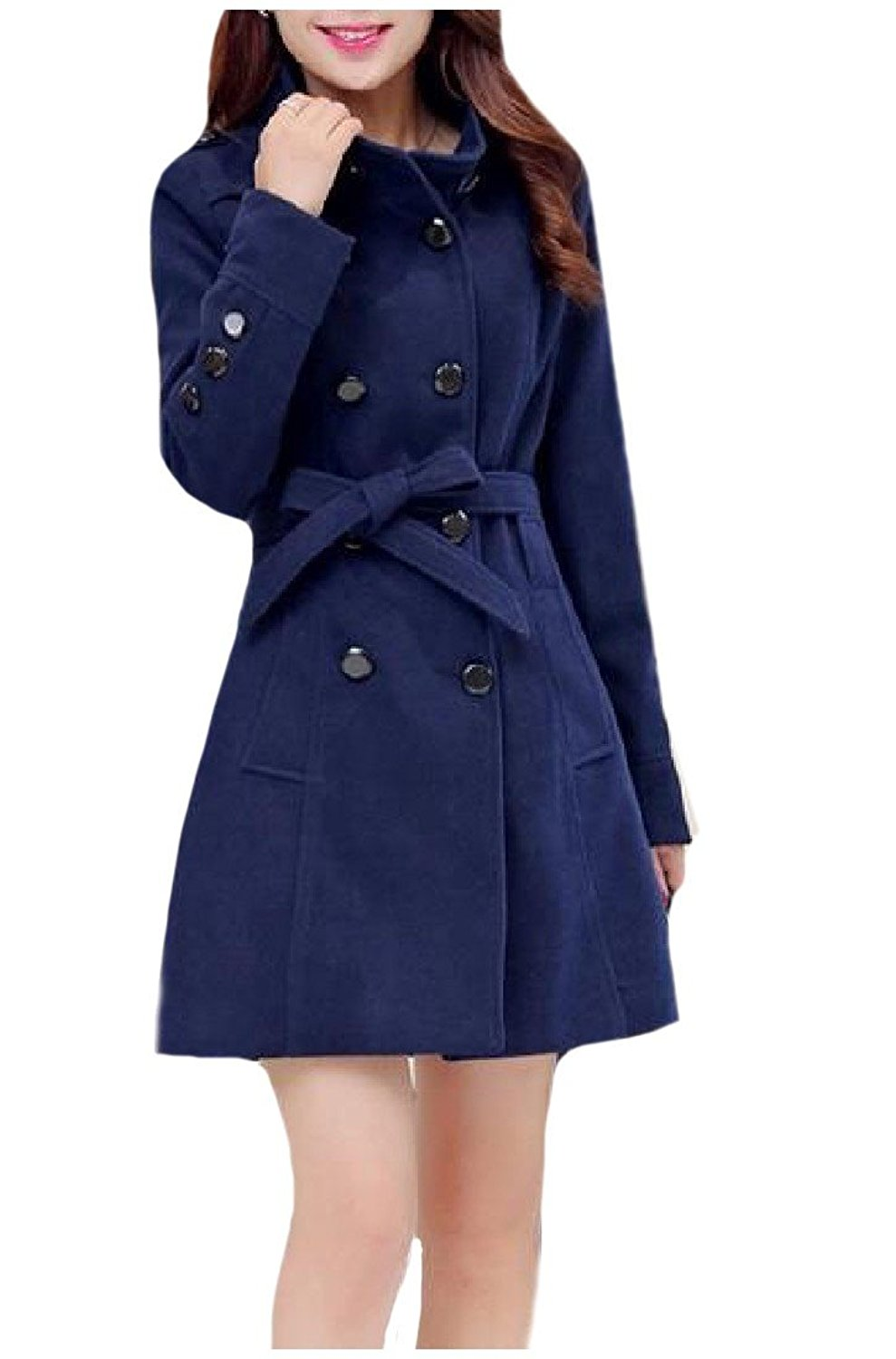 Zimaes-Women Casual Trend Wool Cardigan Double-breasted Overcoat