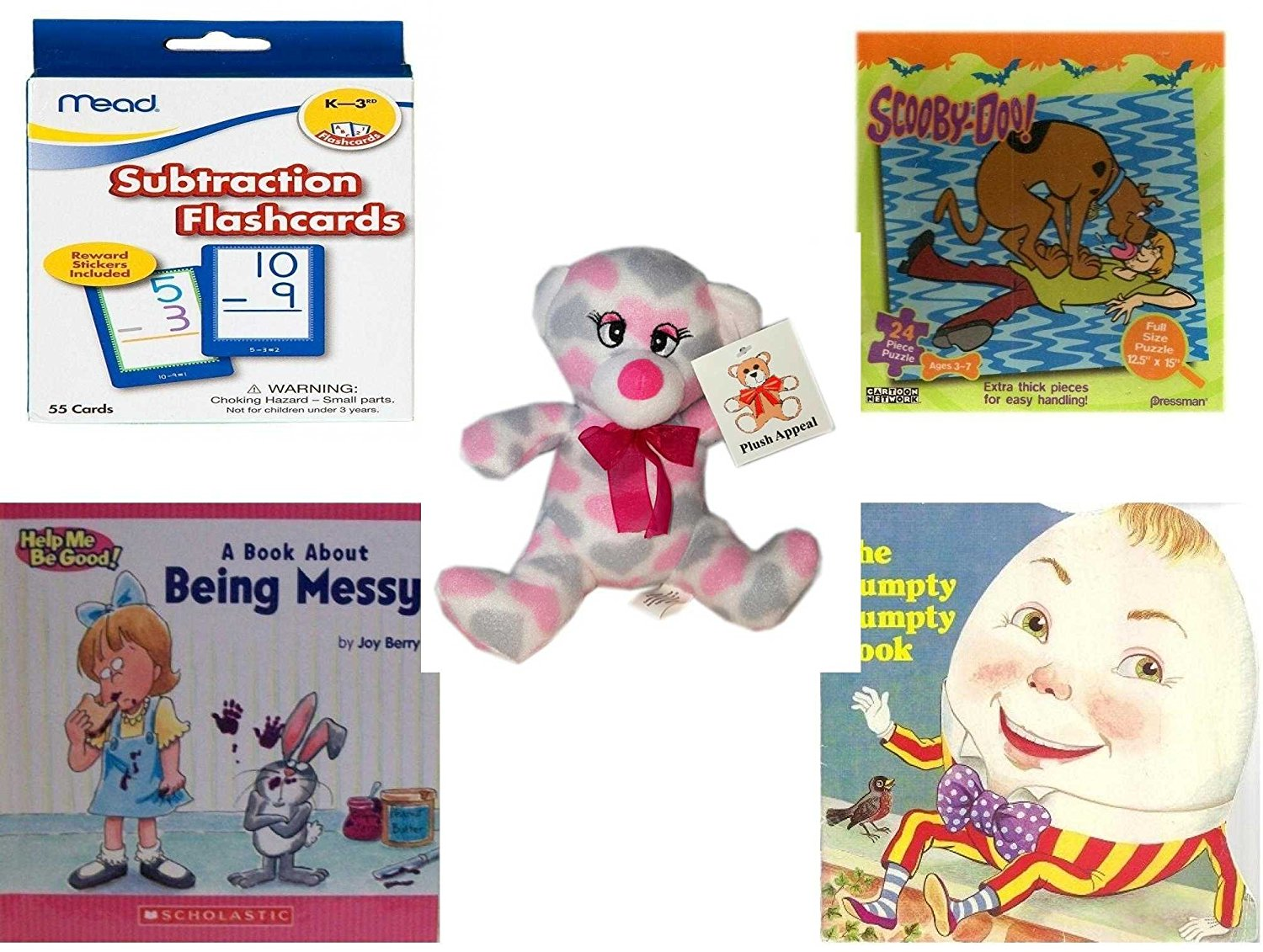 """Children's Gift Bundle - Ages 3-5 [5 Piece] - Mead Flashcards Subtraction Grades K-3 - Scooby Doo & Shaggy 24 Piece Puzzle Toy - Plush Appeal Pretty Pink and Purple Hearts Bear Plush 7"""" - A Book abo"""