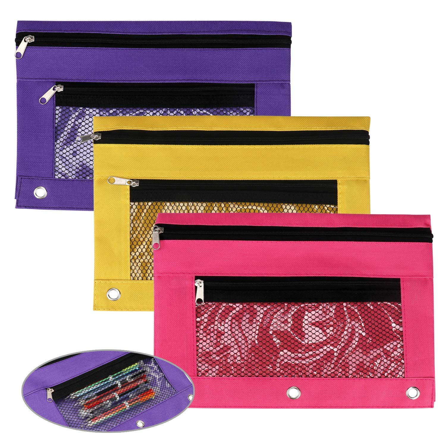 CIEHER 3-Ring Pencil Pouch with a Mesh Window Zipper Pencil Case with Mesh Window 3 Pieces per Set (Purple, Yellow, Rose Red)