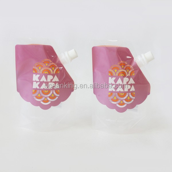 high barrier reusable laminated material stand up liquid packaging corner and top spout bag