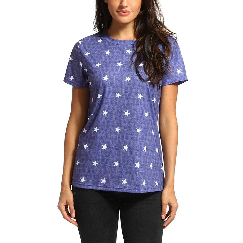 Siaokim Tops For Women Hot Sale Tops for Women Fashion Stars Print Short Sleeve Tunic T-Shirt Casual O Neck Blouse