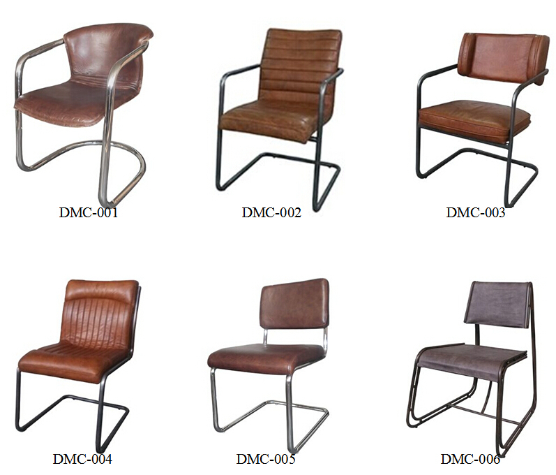 Vintage Leather Dining Chairs solid wood mid-century style dining chair with vintage leather