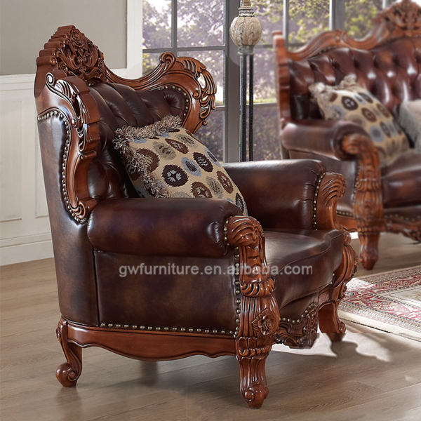 Corner Furniture In India: Indian Genuine Leather Sofas,Sofa Set Classic Wood Frame
