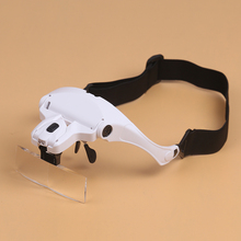 BIJIA NO.9892B1 Handfree Headband 5 Lens Magnifier Magnifying Glasses Loupe 2 LED Light