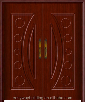 Cheap pvc wooden mdf main indian door designs double doors for Indian main double door designs