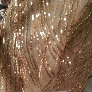 High quality Wholesale sequins embroidery zari bronze beads lace mesh curtain fabric