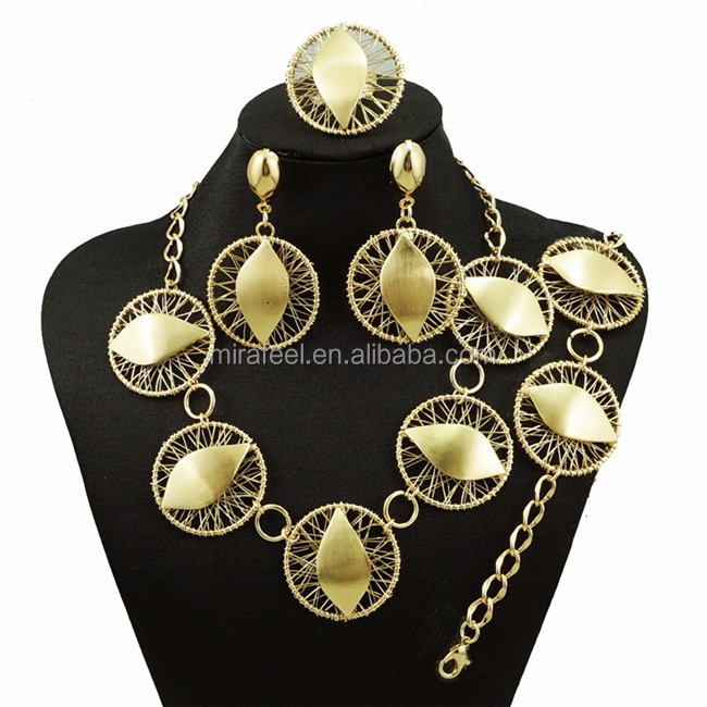 Big Fashionable Design New Products 22K Gold Plated fashion Jewelry Set For Bridal Wedding