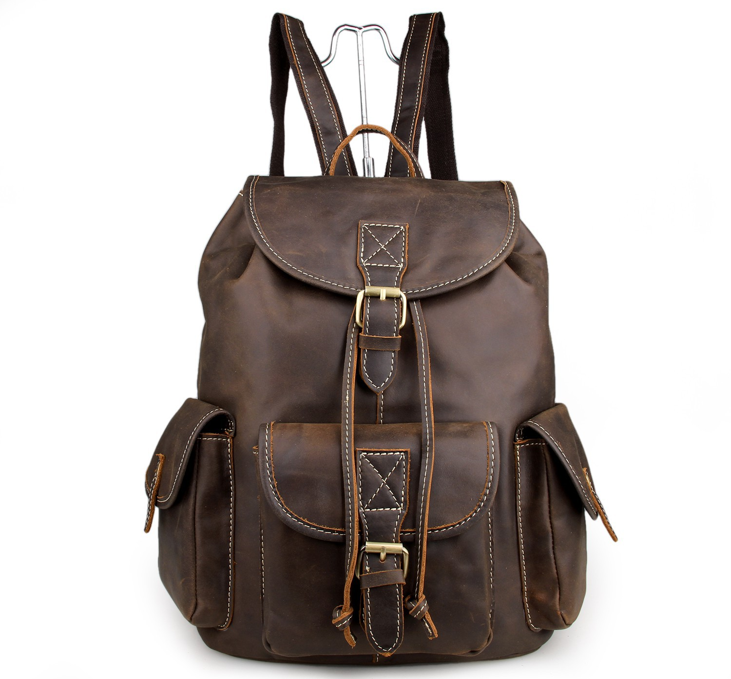 Mens Vintage Leather Backpack Crazy Backpacks