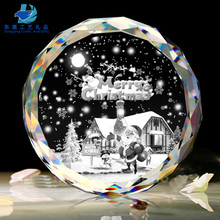 100 Wholesale Clear Glass Laser Engraved Crystal Christmas Ornaments For Home Decoration