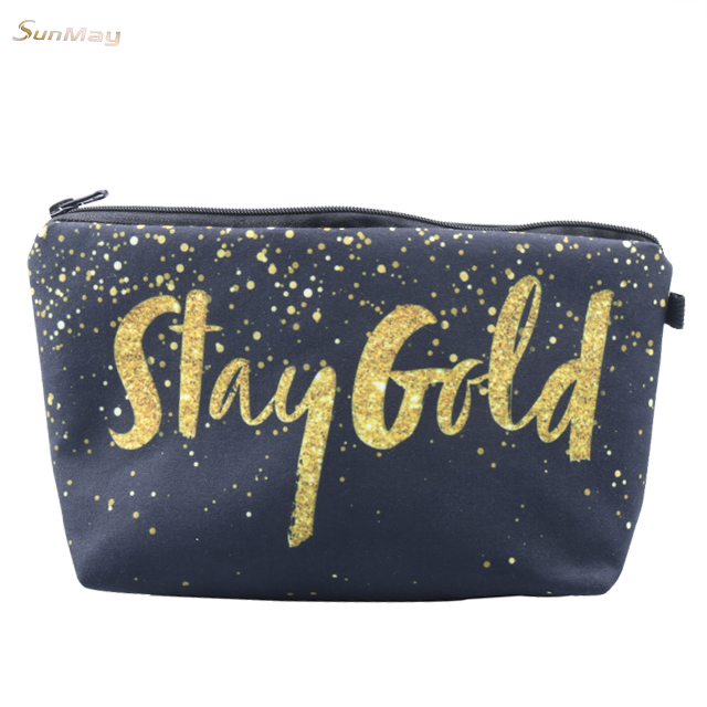Weird girl letter printed cosmetic bag color star galaxy pattern printing cosmetic make up bag