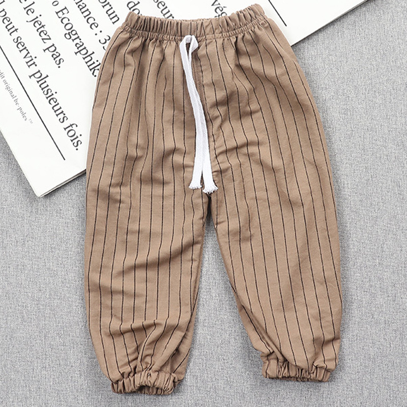 Kids summer  trousers girls stripe plus fours casual against mosquito pants
