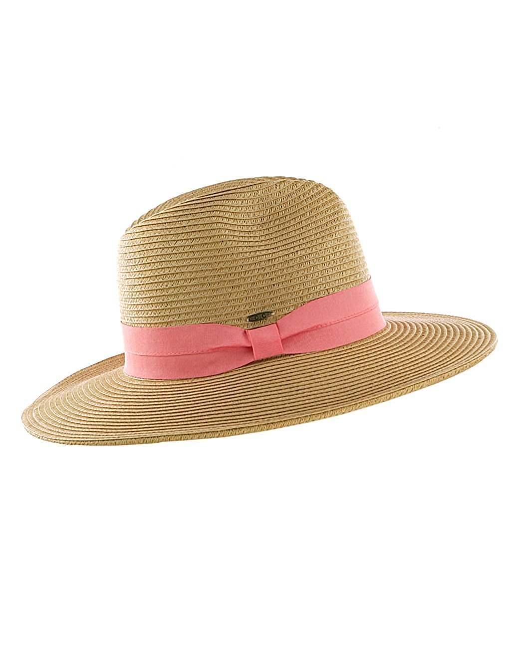 BABY-QQ New Design Lightweight Solid Color Band Braided Panama Fedora Sun Hat Dk Nat/Coral Dark Natural/Coral
