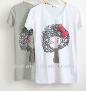 2012 summer fashion short sleeve cotton t shirt for girls