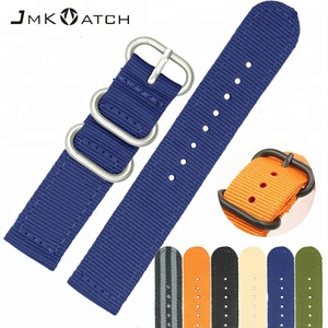 Wholesale perlon watch band new color thick steel ring matte NATO nylon woven watch band watch strap