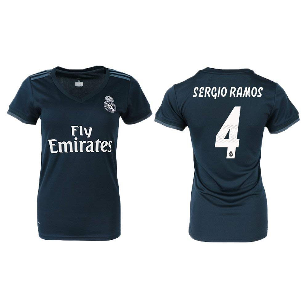 0ab49baf5 Get Quotations · Funny New Real Mdrid Sergio Ramos Away Women s Soccer  Jersey
