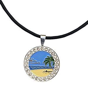 Giggle Golf Bling Beach Scene Magnetic Golf Ball Marker Necklace for Women