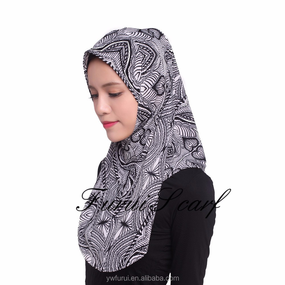 Muslim New Style Ice Silk Fabric Soft Islamic Hijab Mix Colors Large Size Fashion Scarves Print Shawls