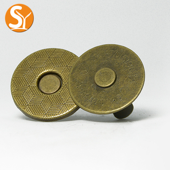 round 18mm nickel gun antique brass color metal sewing magnetic snap